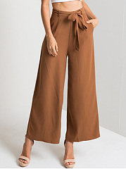 Plain Belt Pocket Wide-Leg Casual Pants