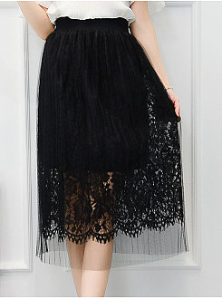 Decorative Lace  Curved Hem  Plain Knee-Length Skirts For Women