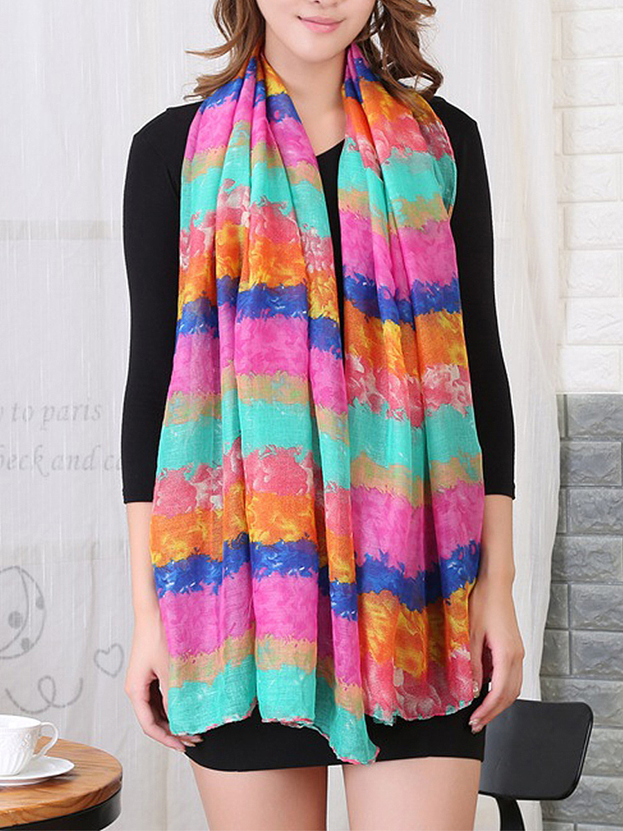 Gauze Rainbow Gradient Scarves