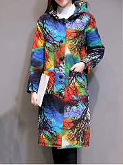 Colorful Tree Printed Hooded Patch Pocket Quilted Padded Coat