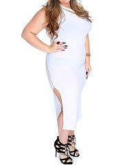 Cutout Slit Zips Modern Plain Round Neck Plus Size Maxi Dress