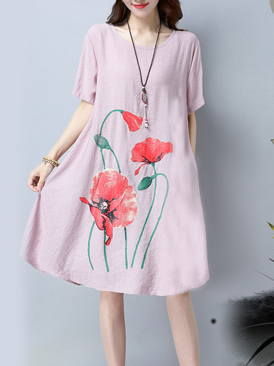Round Neck Pocket Floral Printed Shift Dress