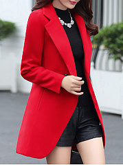 Notch Lapel  Decorative Button  Plain  Long Sleeve Coats