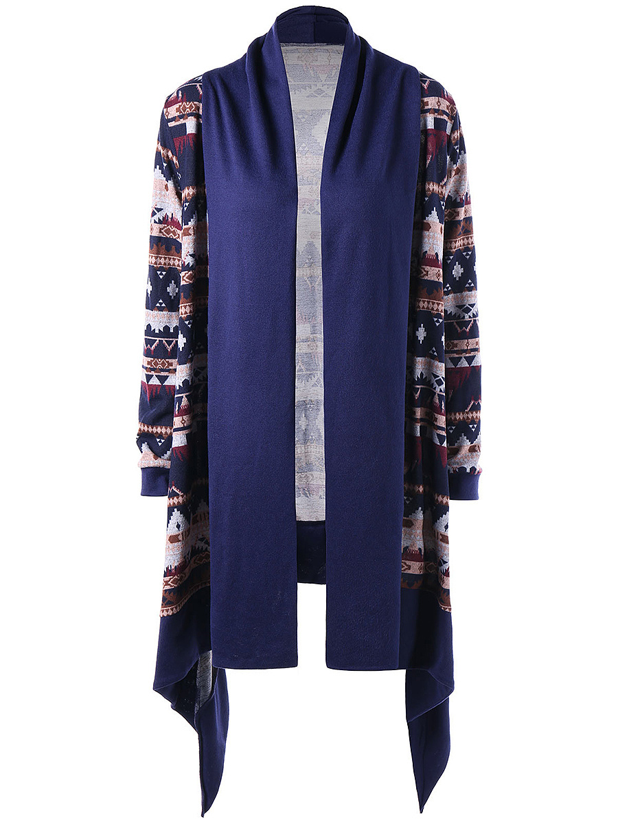 Collarless  Asymmetric Hem  Printed Longline Cardigan