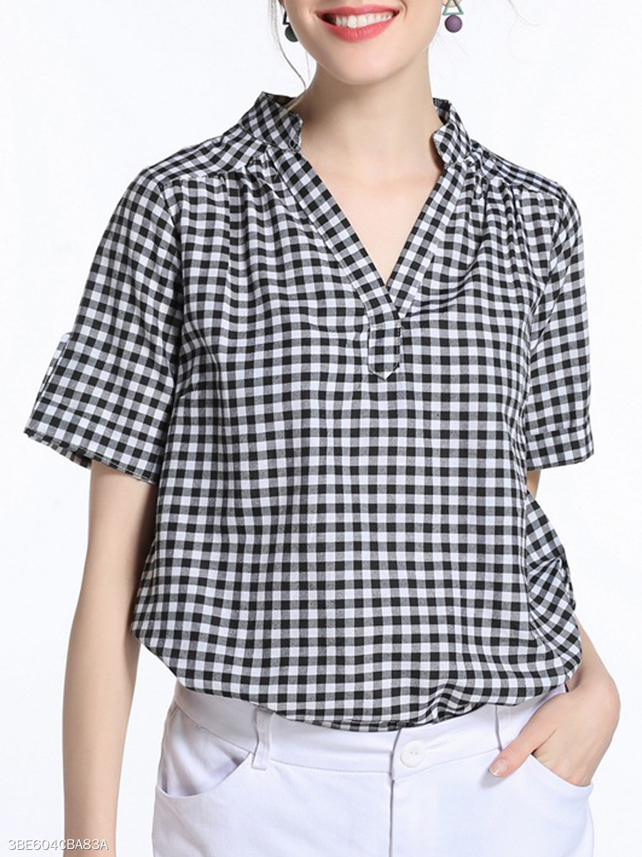 Spring Summer  Polyester  Women  V-Neck  Plaid  Short Sleeve Blouses