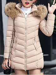 Hooded Plain Pocket Quilted Padded Coat