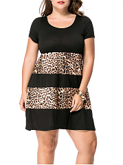 Leopard Striped Round Neck Plus Size Flared Dress