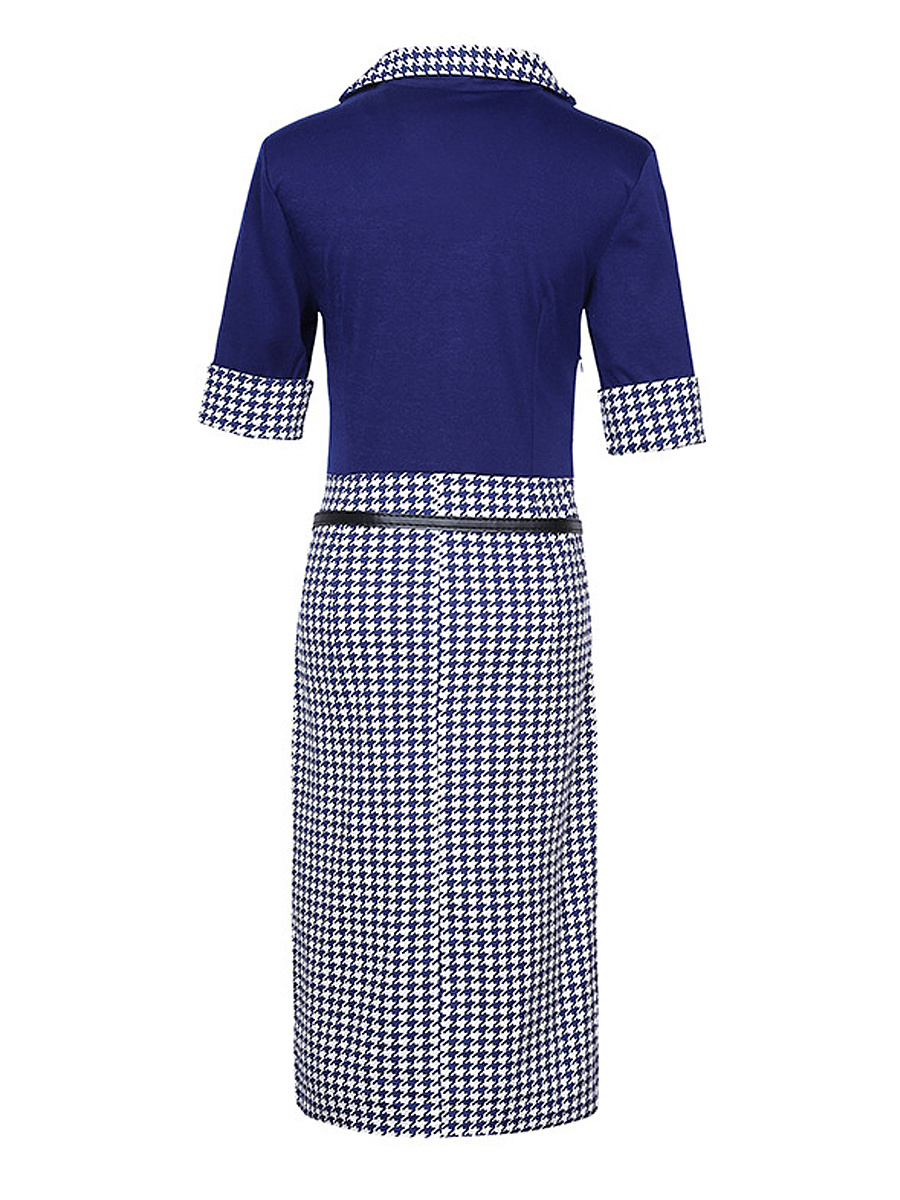 Square Neck  Houndstooth  Cotton Bodycon Dresses