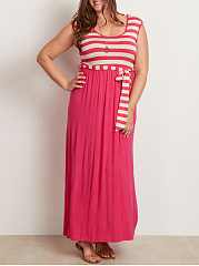 Scoop Neck  Plain Striped Plus Size Midi  Maxi Dresses