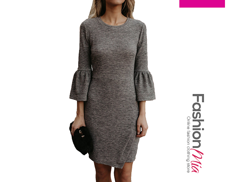 thickness:regular, brand_name:fashionmia, style:western, material:blend, collar&neckline:round neck, sleeve:three-quarter sleeve, pattern_type:plain, length:thigh-length, how_to_wash:cold  hand wash, supplementary_matters:all dimensions are measured manually with a deviation of 2 to 4cm.,the fabric is elastic., occasion:daily*date, season:autumn*winter, dress_silhouette:sheath, package_included:dress*1, lengthsleeve lengthbustwaisthip