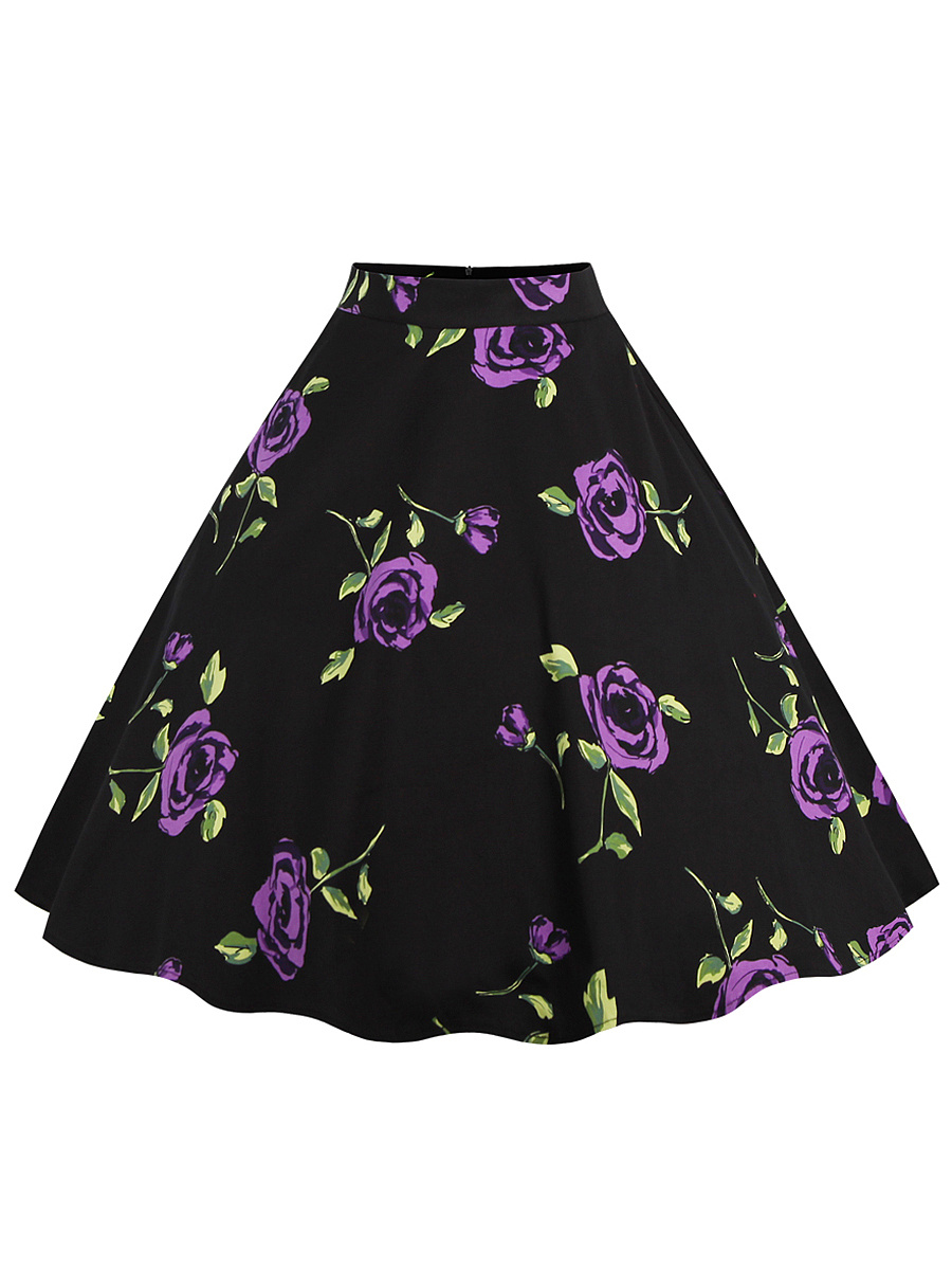 Retro Floral Printed Flared Midi Skirt