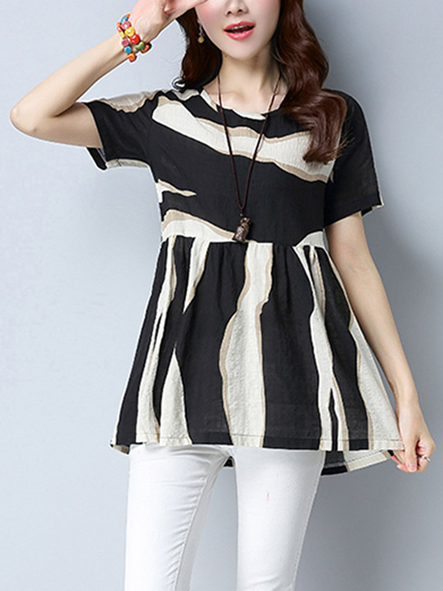 Round Neck  Color Block Blouse