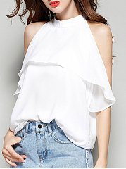 Summer Chiffon Women Halter Flounce Plain Sleeveless Blouses