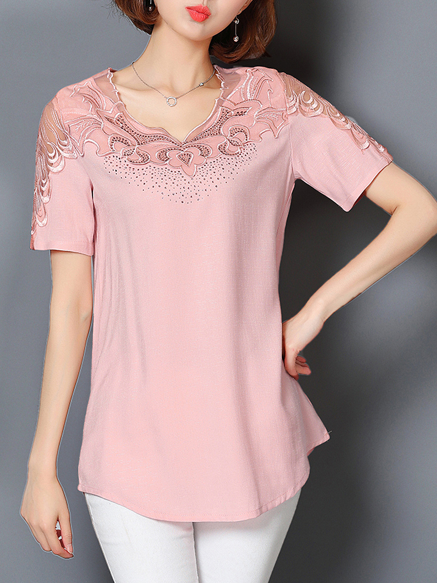 V-Neck Solid Hollow Out Blouse