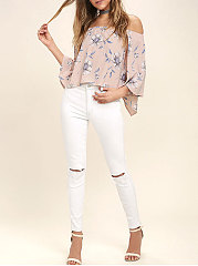 Spring Summer  Polyester  Women  Off Shoulder  Floral Printed  Three-Quarter Sleeve Blouses