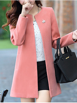 Collarless Pocket Woolen Plain Coat