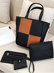 Four-Pieces-Patchwork-Simple-Style-Elegance-Hand-Bag