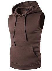 Solid-Sleeveless-Kangaroo-Pocket-Men-Hoodie