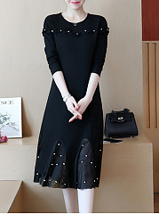 Round Neck  Beading  Plain Maxi Dress