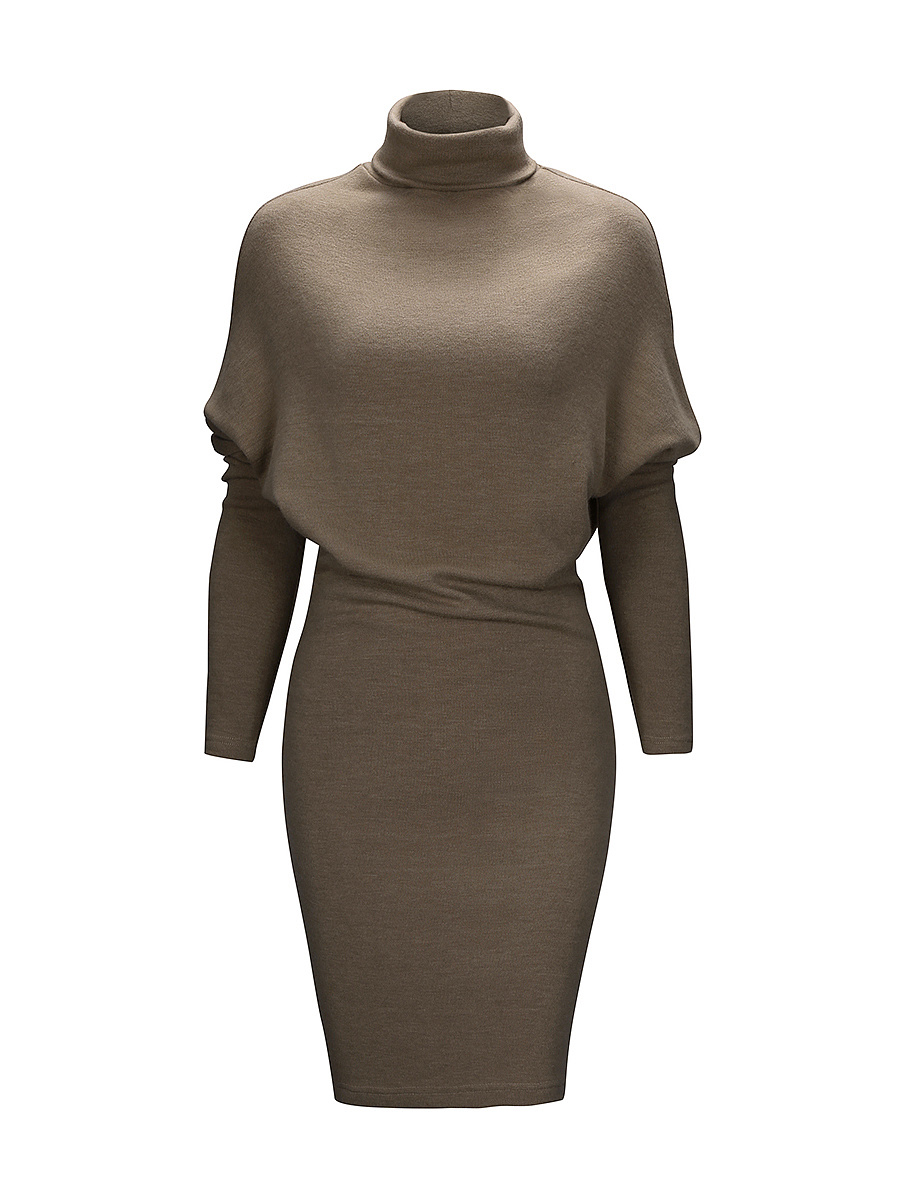 Turtleneck Plain Bodycon Dress With Batwing Sleeve
