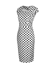 Vintage Black White Polka Dot Bodycon Dress