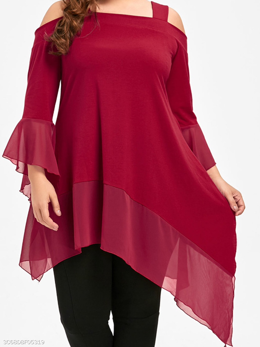 Open Shoulder  Asymmetric Hem  Plain  Three-Quarter Sleeve Plus Size Blouse