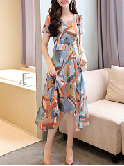 Asymmetric Hem Printed Chiffon Round Neck Maxi Dress