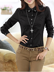 Turn Down Collar  Single Breasted  Long Sleeve Blouses