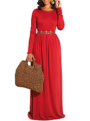 Round Neck  Plain Casual Basic Maxi Dress