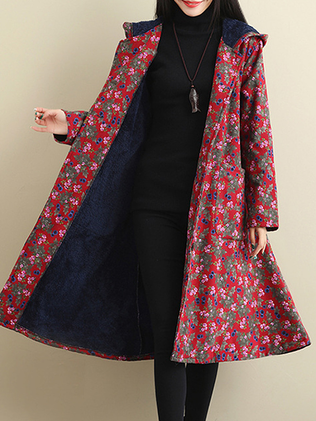 Fashionmia Hooded  Floral Printed Coat