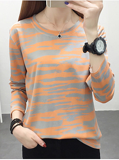 Round  Neck  Patchwork  Casual  Camouflage  Long Sleeve  T-Shirt