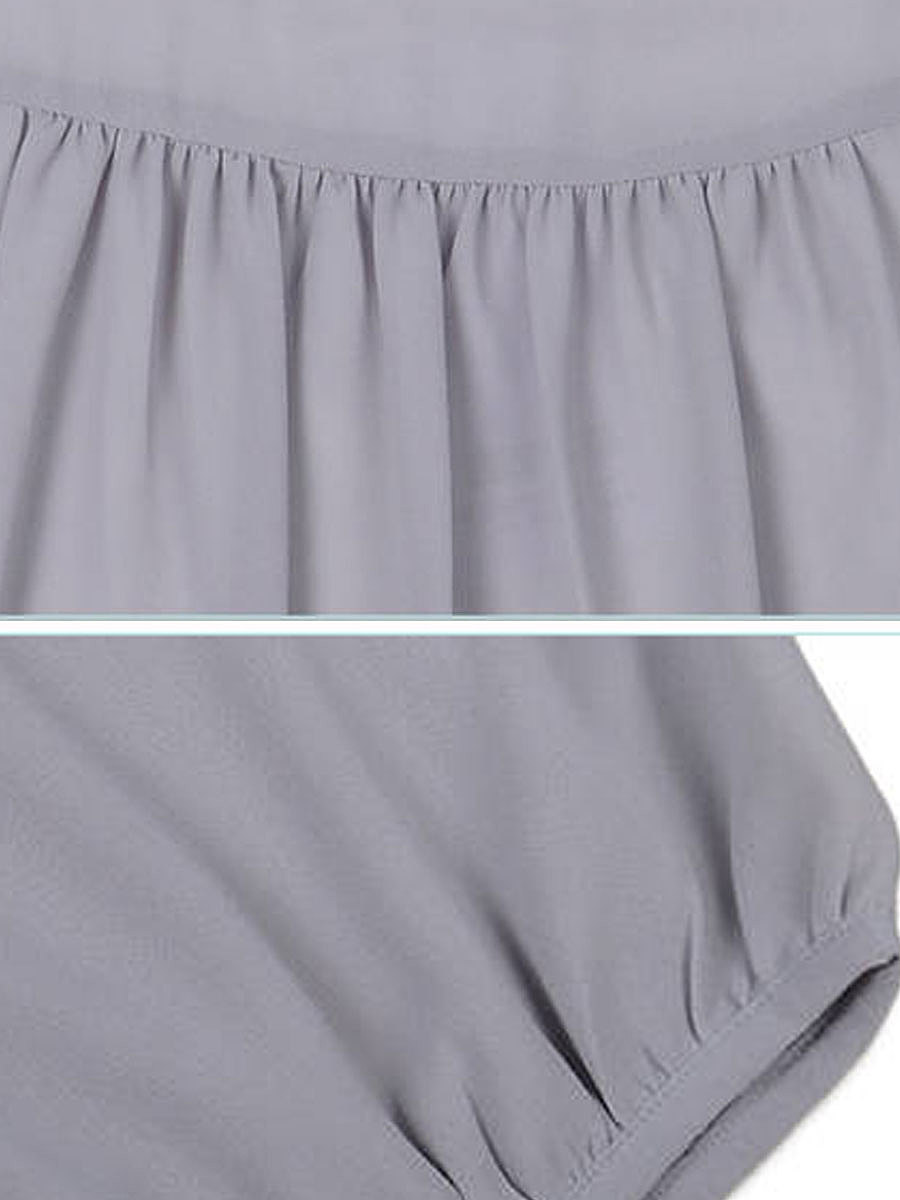 Spring Summer  Chiffon  Women  Round Neck  Plain  Three-Quarter Sleeve Blouses