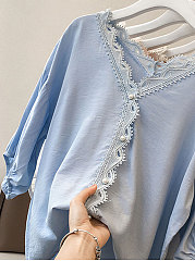 Spring Summer  Polyester  Women  V-Neck  Decorative Lace  Plain  Three-Quarter Sleeve Blouses
