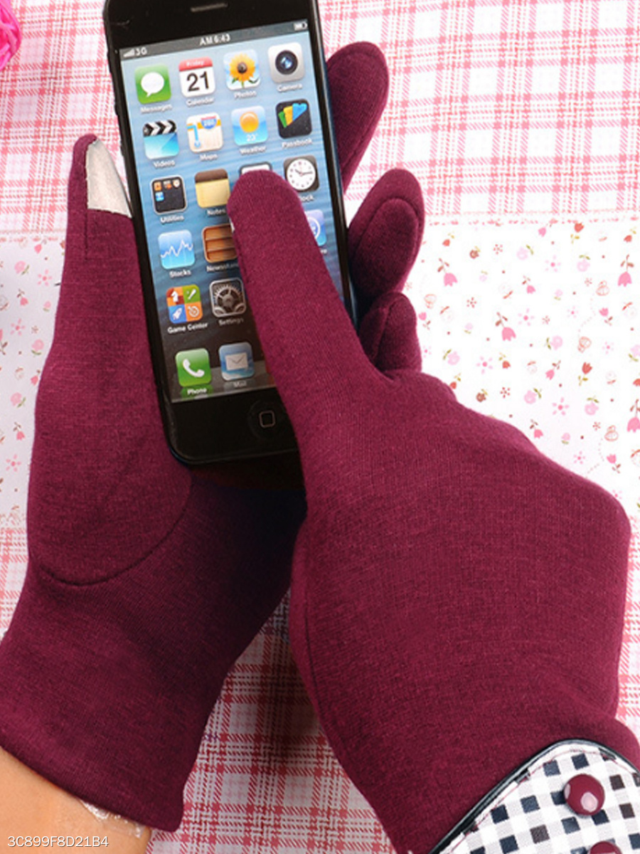 Plaid Patchwork Fleece Telefigers Gloves