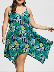 V-Neck  Asymmetric Hem  Printed Plus Size Midi & Maxi Dress