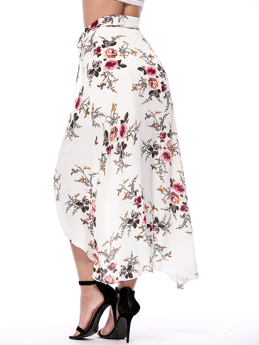 Floral Printed Flared High-Low Maxi Skirt