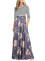Round Neck  Printed Striped Maxi Dress