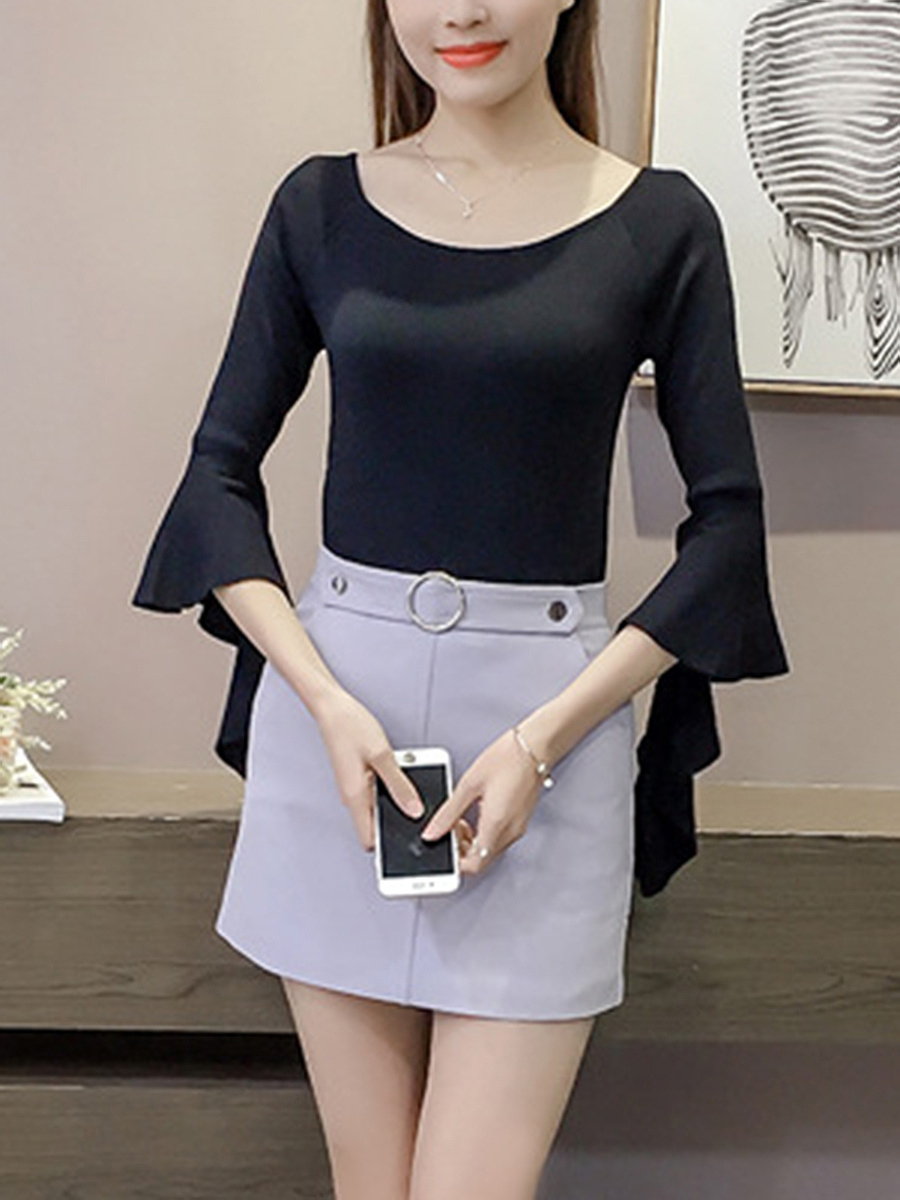 Two Way Plain Bell Sleeve T-Shirt