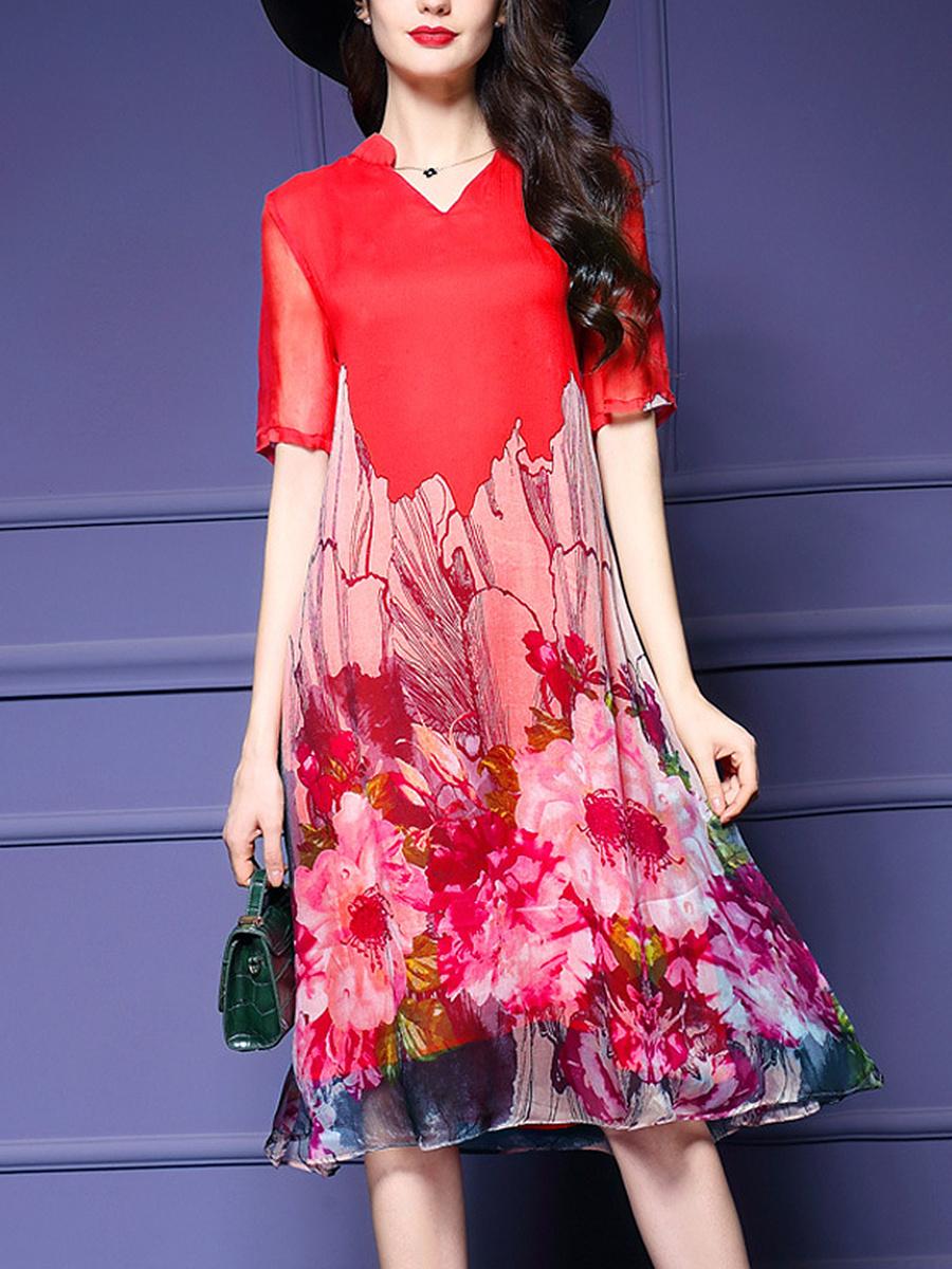 V-Neck Floral Printed Midi Shift Dress
