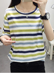 Spring Summer  Polyester  Women  Round Neck  Color Block Striped Short Sleeve T-Shirts