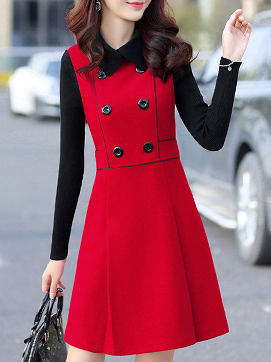 Fold-Over Collar Color Block Double Breasted Woolen A-Line Dress