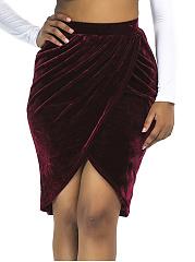 Plain-Ruched-Velvet-Tulip-Midi-Skirt