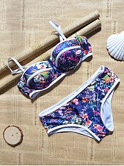 Contrast Trim Floral Push Up Bikini