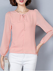Autumn Spring  Polyester  Women  Round Neck  Decorative Button  Plain  Long Sleeve Blouses