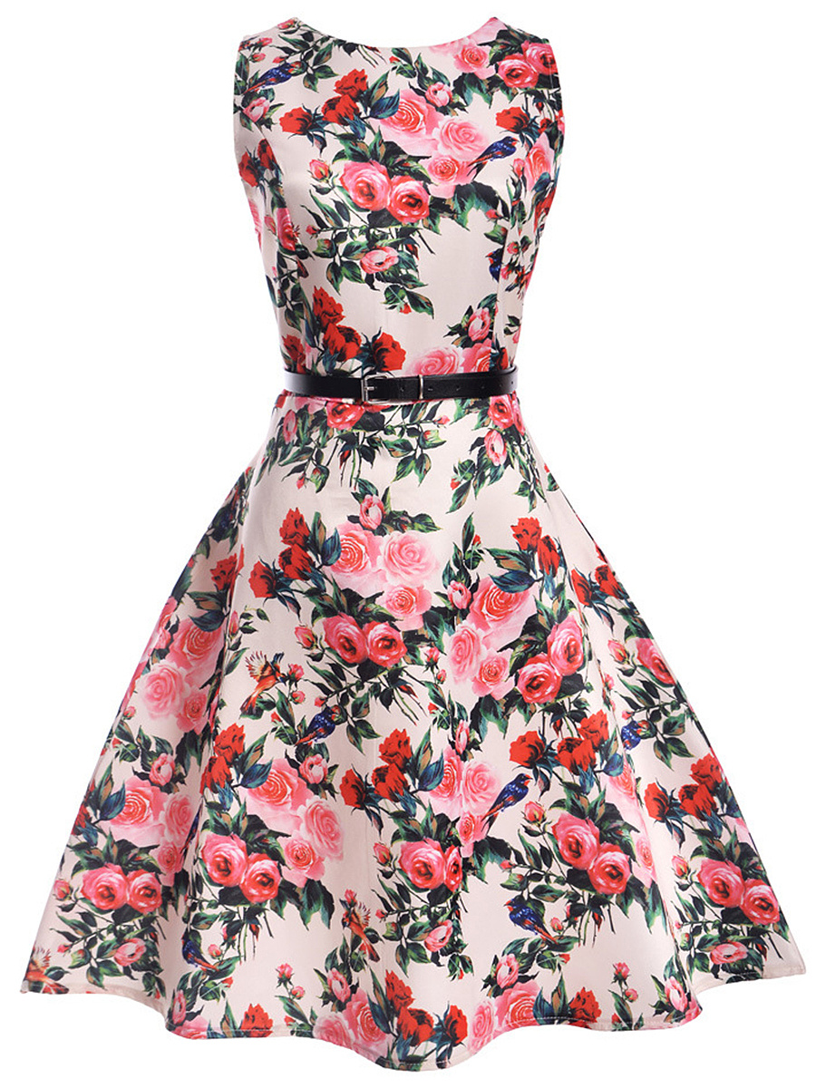 Charming Floral Printed Round Neck Belt Skater Dress