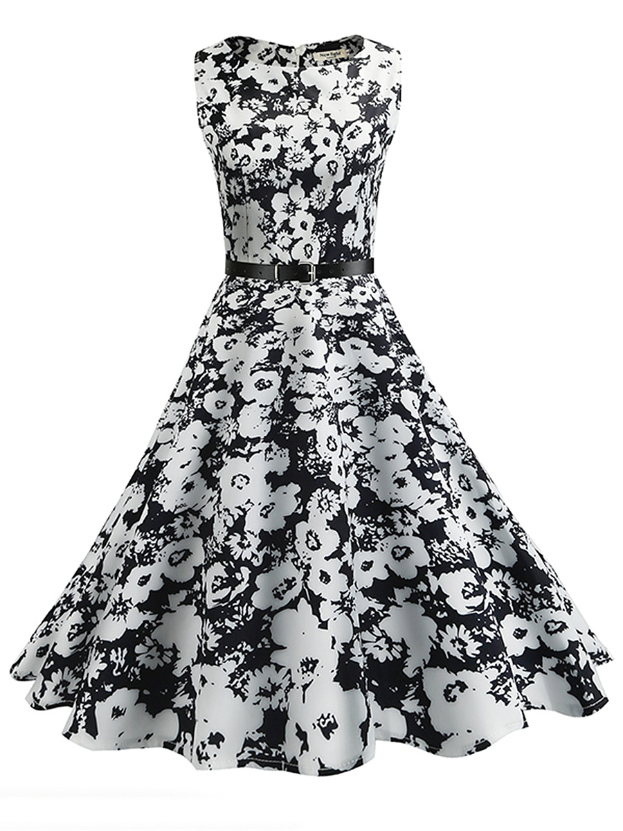 Black White Floral Printed Round Neck Belt Midi Skater Dress