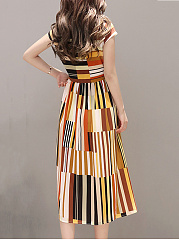 Band Collar Multi-Color Striped Chiffon Maxi Dress