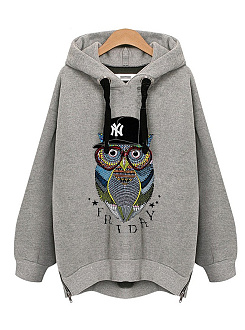 Hooded  Zips  Printed  Long Sleeve Hoodies