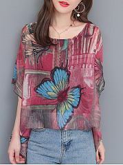 Polyester  Round Neck  Abstract Print Printed  Batwing Sleeve Blouses