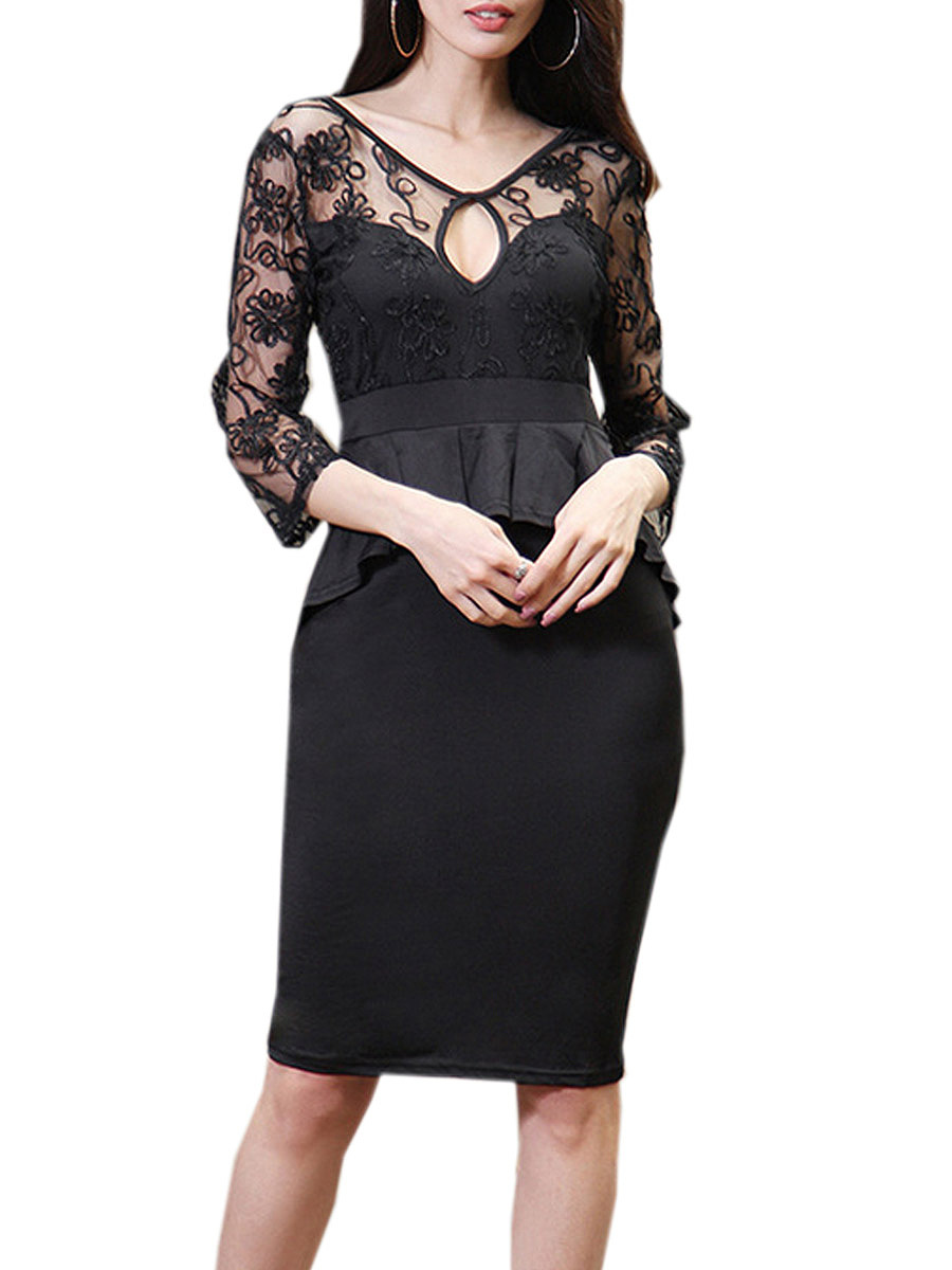 V-Neck See-Through Plain Lace Hollow Out Bodycon Dress